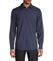 perry ellis men's printed long-sleeve shirt - dark sapphire - size xl