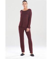 natori calm pajamas / sleepwear / loungewear, women's, deep garnet, size l natori