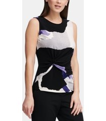 dkny sleeveless side-knot knit top