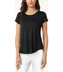 alfani petite satin-trim high-low t-shirt, created for macy's