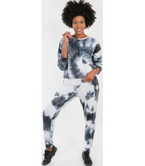 conjunto crop corto tie dye negro/blanco night concept
