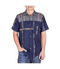 men's cotton shirt, 'guatemalan vacation' (guatemala)