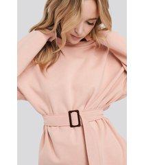 na-kd belted sweatshirt - pink