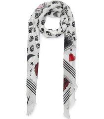 mystic skull graphic foulard scarf