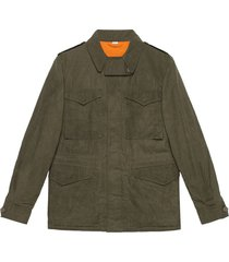 gucci coated parka with gucci logo - green
