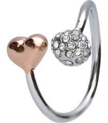 anello regolabile in metallo rodiato con cuore rosato e pallina con strass per donna