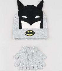 kit infantil de gorro batman com orelhinhas cinza mescla + luva em tricô cinza mescla