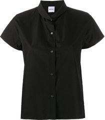 aspesi round-collar short sleeved shirt - black