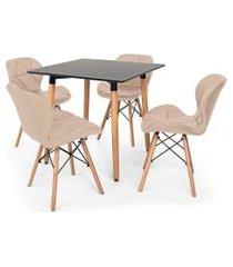 kit mesa jantar eiffel 80x80 preta + 04 cadeiras slim - nude