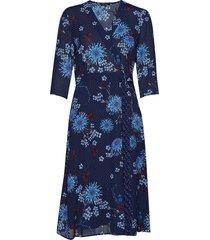 wrap style dress knälång klänning blå marc o'polo