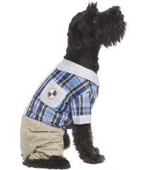 parisian pet plaid royal dog jumpsuit