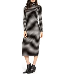 women's ag chelden long sleeve turtleneck midi dress, size medium - black