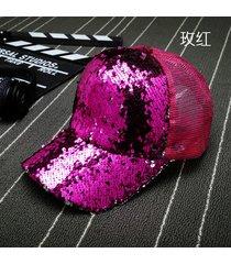 sombrero para mujer, gorro lentejuelas reflectantes-rojo