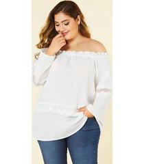 blusa con hombros descubiertos y diseño hueco blanco de talla grande yoins