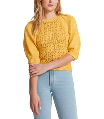 bb dakota by steve madden come here soften puff sleeve sweater, size x-small in turmeric at nordstrom