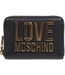 love moschino black small wallet with gold logo
