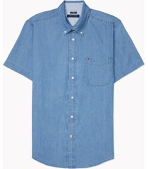 tommy hilfiger adaptive men's custom-fit benny twill shirt with velcro closure