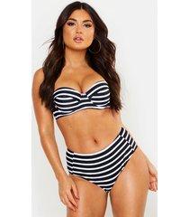 paphos mix & match nautical high waist bikini brief, black