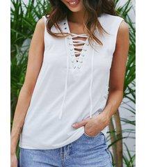 blanco con cordones diseño camiseta sin mangas con cuello en v profundo