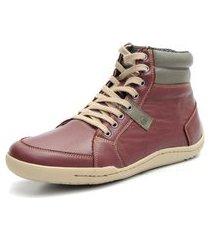 sapatênis shoes grand boston cano médio em couro bordo