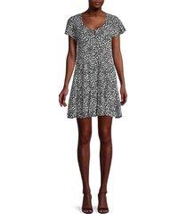 rd style women's floral-print mini dress - black - size s
