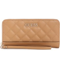 guess illy quilted large zip around wallet wristlet