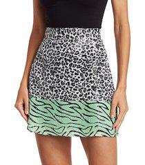 animal-print sequin mini skirt