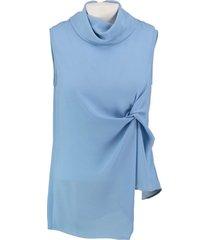 amélie & amélie blauwe polyester blouse top valt kleiner