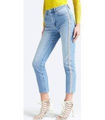 jeansy z efektem znoszenia i błyszczącymi pasami