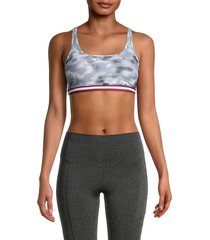 wear it to heart women's camo cross-back sports bra - smoke blur - size xs