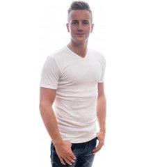 petrol industries men t-shirt basic v-neck white.