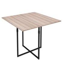 mesa de jantar quadrada teka carvalho e preta 90 cm
