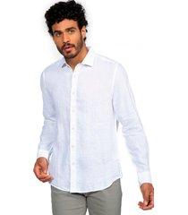 camisa lino lisa blanco arrow