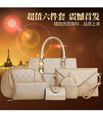 new women bag luxury pu leather handbag shoulder message bag purse 6 pcs one set
