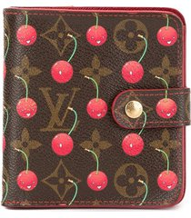 louis vuitton pre-owned monogram cherry compact wallet - brown