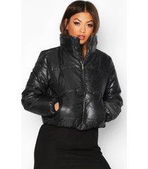 gewatteerde jas met hoge kraag, zwart