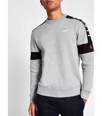 mens schott grey colour blocked sweatshirt