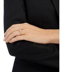 anillo attract round, blanco, baño en tono oro rosa