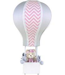 abajur balãozinho cintura ursa chevron rosa quarto bebê infantil menina