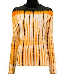 proenza schouler tie-dye velvet rollneck jumper - orange
