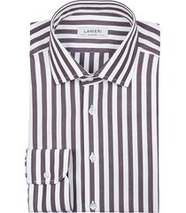 camicia da uomo su misura, grandi & rubinelli, riga larga marrone, quattro stagioni | lanieri