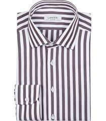 camicia da uomo su misura, grandi & rubinelli, riga larga marrone, quattro stagioni