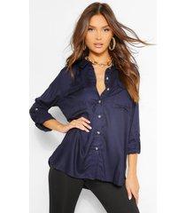 blouse met omgeslagen mouwen en zak, marineblauw