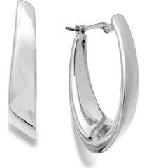 visor hoop earrings in 14k white gold