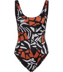 recycled afara print swimsuit baddräkt badkläder svart french connection
