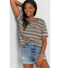 maurices womens 24/7 gray striped oversized boyfriend tunic tee green