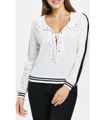 criss cross low cut stripe brim hoodie