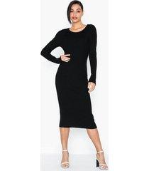 vila vibolonia knit l/s midi rib dress långärmade klänningar