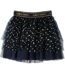alberta ferretti navy-blue and gold skirt