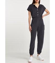 river island womens grey short sleeve button jumpsuit